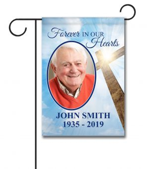 Forever in our Hearts Cross Photo Flag - Garden Flag - 12.5'' x 18''