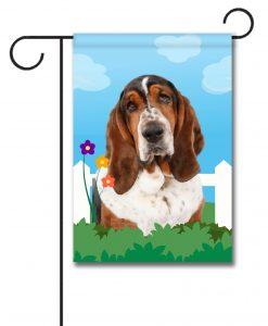 Spring Basset Hound - Garden Flag - 12.5'' x 18''