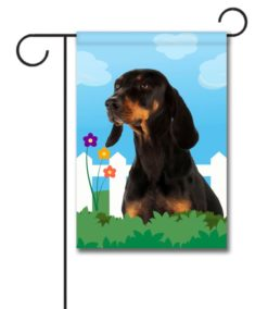 Spring Black and Tan Coonhound - Garden Flag - 12.5'' x 18''