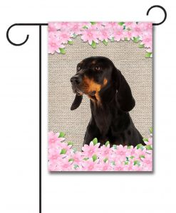 Spring Flowers Black and Tan Coonhound - Garden Flag - 12.5'' x 18''