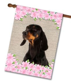 Spring Flowers Black and Tan Coonhound - House Flag - 28'' x 40''
