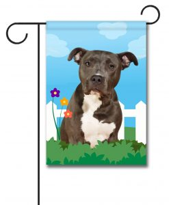 Spring Black and White American Staffordshire Terrier - Garden Flag - 12.5'' x 18''