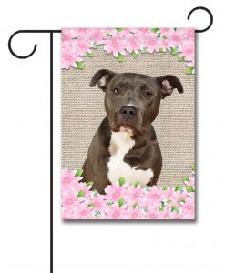Spring Flowers Black and White American Staffordshire Terrier - Garden Flag - 12.5'' x 18''
