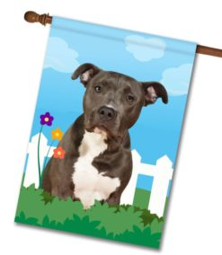 Spring Black and White American Staffordshire Terrier - House Flag - 28'' x 40''
