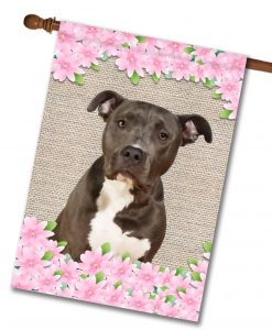 Spring Flowers Black and White American Staffordshire Terrier - House Flag - 28'' x 40''
