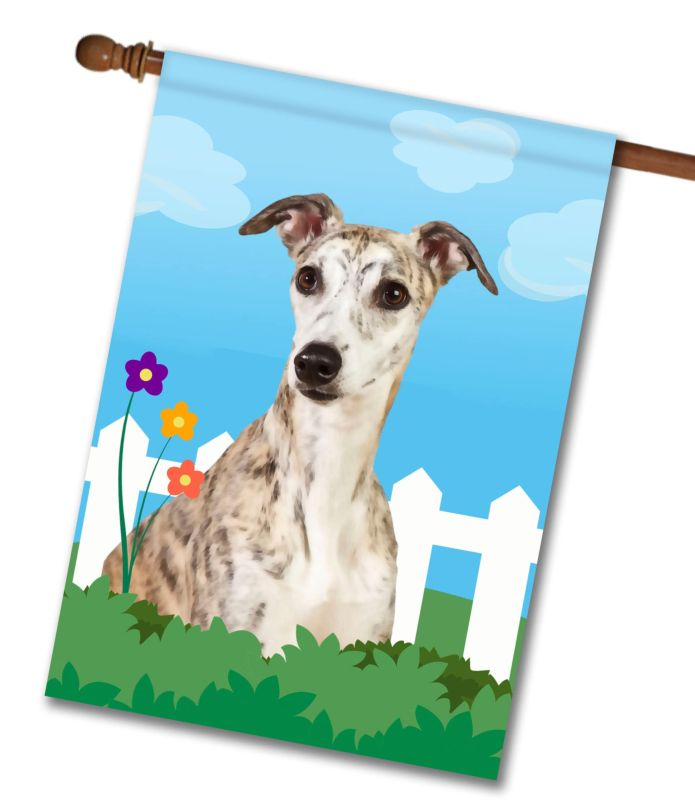 Spring Brindle Whippet - House Flag - 28'' x 40''