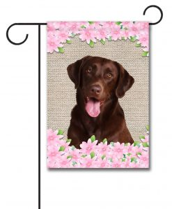 Spring Flowers Chocolate Labrador Retriever - Garden Flag - 12.5'' x 18''