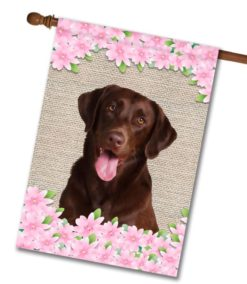 Spring Flowers Chocolate Labrador Retriever - House Flag - 28'' x 40''