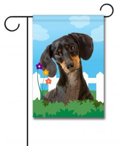 Spring Black Short Haired Dachshund - Garden Flag - 12.5'' x 18''