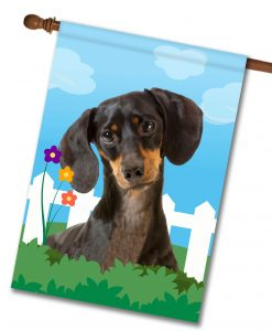 Spring Black Short Haired Dachshund - House Flag - 28'' x 40''