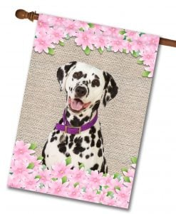 Spring Flowers Dalmation - House Flag - 28'' x 40''