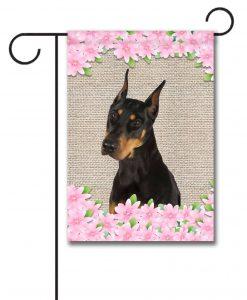 Spring Flowers Doberman - Garden Flag - 12.5'' x 18''