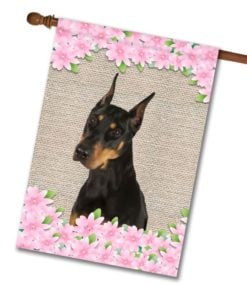Spring Flowers Doberman - House Flag - 28'' x 40''