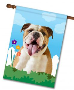 Spring English Bulldog House Flag