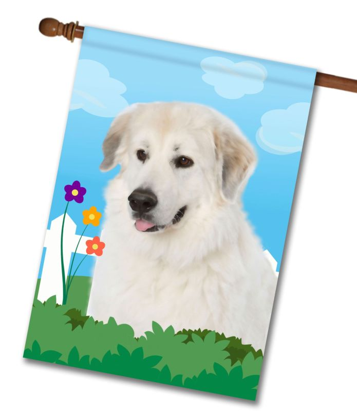 Spring Great Pyrenees - House Flag - 28'' x 40''