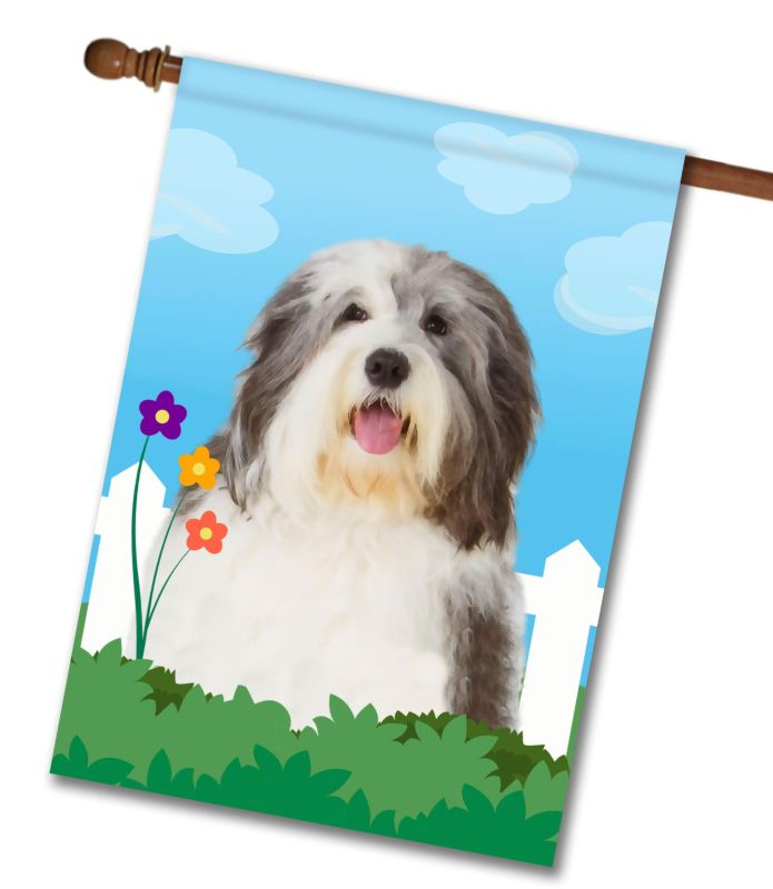 Spring Old English Sheepdog - House Flag - 28'' x 40''