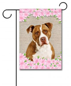 Spring Flowers Tan and White American Staffordshire Terrier - Garden Flag - 12.5'' x 18''