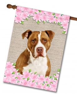 Spring Flowers Tan and White American Staffordshire Terrier - House Flag - 28'' x 40''