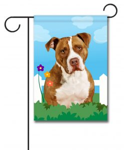 Spring Tan and White American Staffordshire Terrier - Garden Flag - 12.5'' x 18''