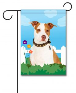 Spring Tan and White Amstaff - Garden Flag - 12.5'' x 18''