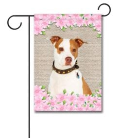 Spring Flowers Tan and White Amstaff - Garden Flag - 12.5'' x 18''