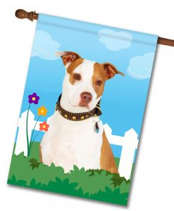 Spring Tan and White Amstaff - House Flag - 28'' x 40''