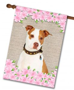 Spring Flowers Tan and White Amstaff - House Flag - 28'' x 40''