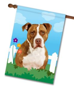 Spring Tan and White American Staffordshire Terrier - House Flag - 28'' x 40''