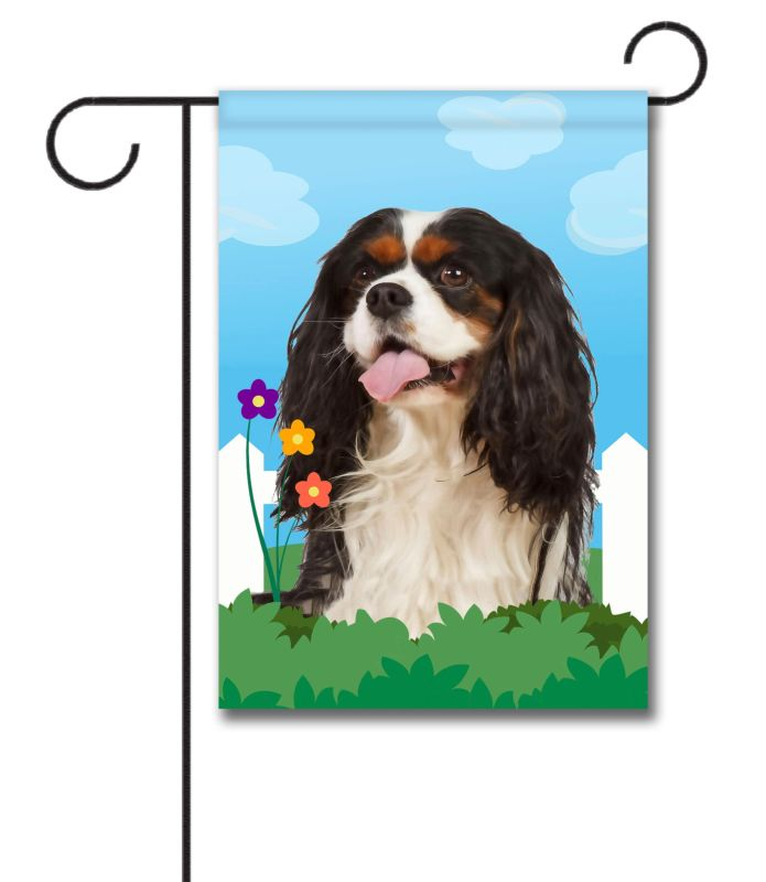 Spring Tri Colored Cavalier King Charles Spaniel - Garden Flag - 12.5'' x 18''