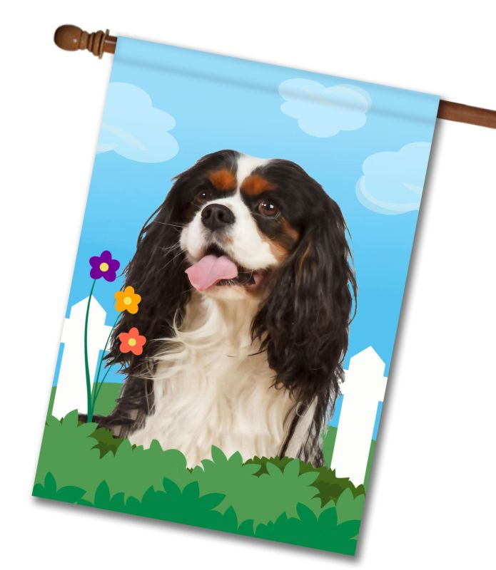 Spring Tri Colored Cavalier King Charles Spaniel - House Flag - 28'' x 40''