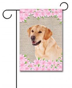 Spring Flowers Yellow Labrador Retriever - Garden Flag - 12.5'' x 18''