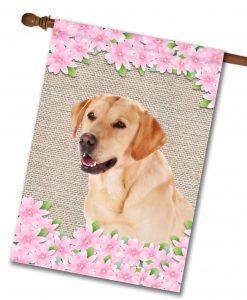 Spring Flowers Yellow Labrador Retriever - House Flag - 28'' x 40''