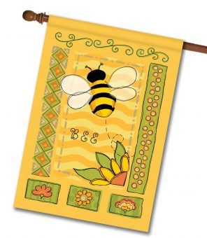 Springtime Bee - House Flag - 28'' x 40''