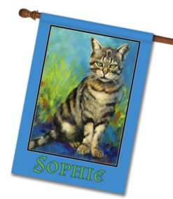 Personalized Welcome Cat - House Flag - 28'' x 40''