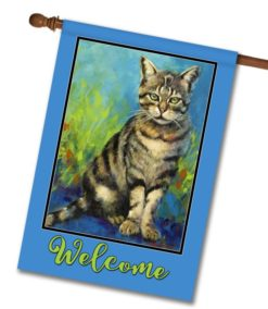 Welcome Cat - House Flag - 28'' x 40''