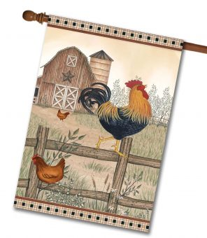 Country Farm Chickens - House Flag - 28'' x 40''