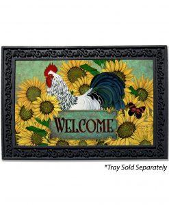 Sunflowers Rooster Doormat