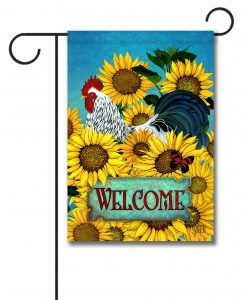 Sunflowers Rooster - Garden Flag - 12.5'' x 18''