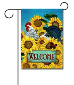 Sunflowers Rooster - Garden Flag - 12.5'' x 18''