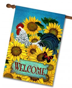 Sunflowers Rooster - House Flag - 28'' x 40''