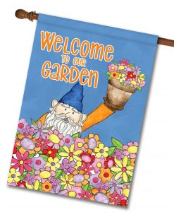 Welcome to Our Garden Gnome - House Flag - 28'' x 40''