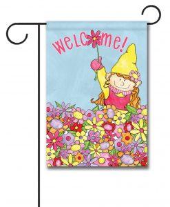 Welcome Gnome Girl - Garden Flag - 12.5'' x 18''