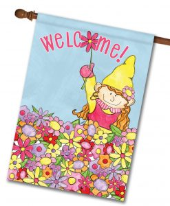 Welcome Gnome Girl - House Flag - 28'' x 40''