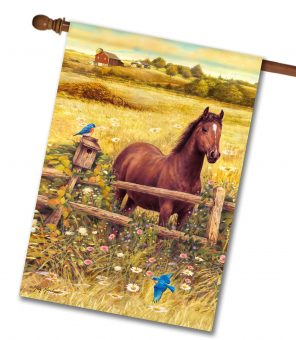 Horse in Meadow - House Flag - 28'' x 40''