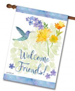 Welcome Friends Hummingbird - House Flag - 28'' x 40''