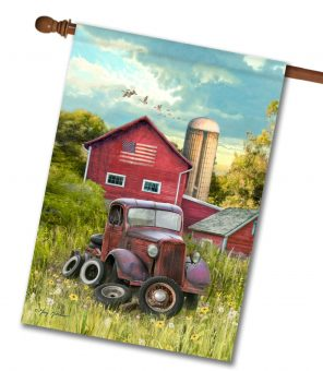 Vintage Farm Truck - House Flag - 28'' x 40''