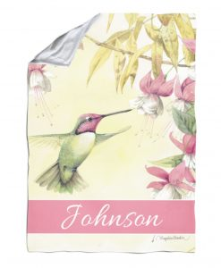 Personalized Whispers of a Hummingbird - Blanket - 40'' x 57''