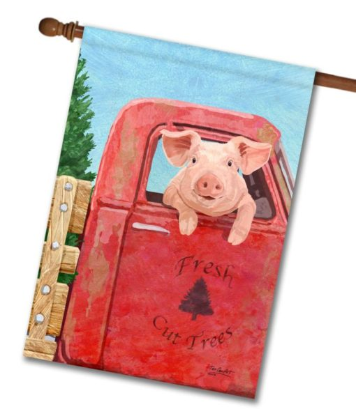 Pig in a Truck - House Flag - 28'' x 40''