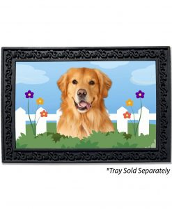 Spring Fence Golden Retriever Doormat