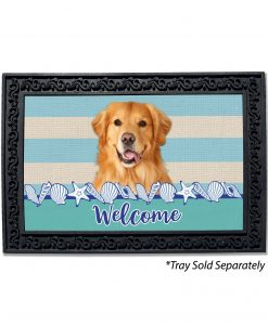 Stripes and Seashells Golden Retriever Doormat